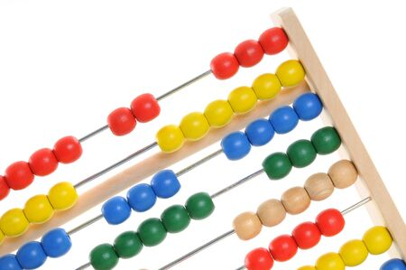 finanzen: Abacus in front of a white background Stock Photo