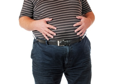 weight loss man: Fat man isolated on white Stock Photo