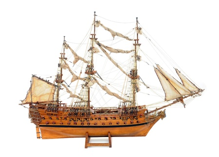 modell: Historic sailing ship as wooden modell Stock Photo