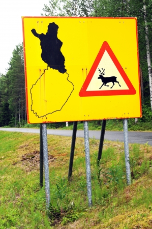 Warning of free reindeers in finnish lapland photo