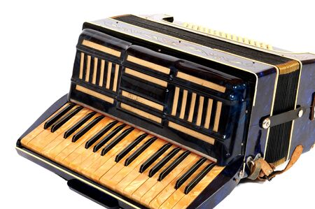 aerophone: Blue accordion in front of a white background Stock Photo