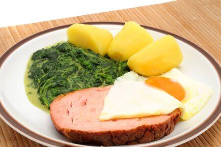 leberkaese: Bavarian Leberkaese with fried  egg, spinach und potatoes