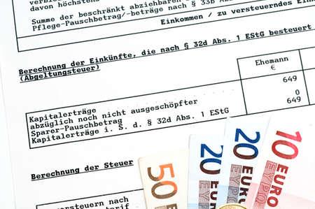 capital gains: German tax bill in a studio shot, here the capital gains tax