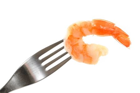 gambas: Shrimp in front of a white background