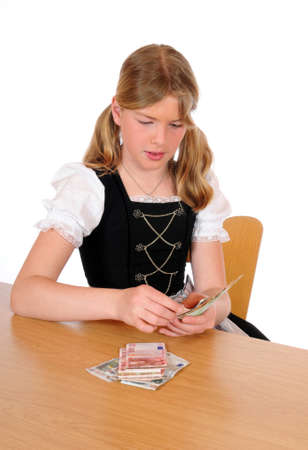 euromoney: Teenagen girl is counting Euro-money
