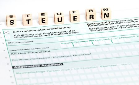 tax form: German tax form in front of a white background