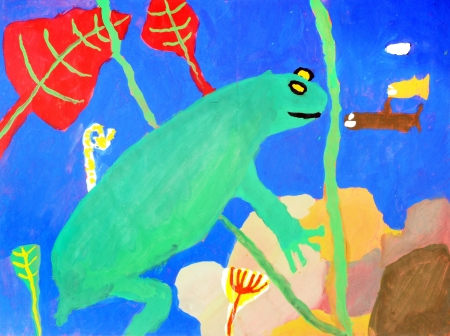 Underwater world in a multi-colored childrens drawings Standard-Bild