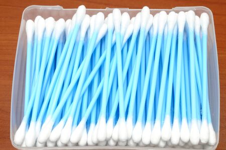 hygienics: Box full of blue cotton swabs