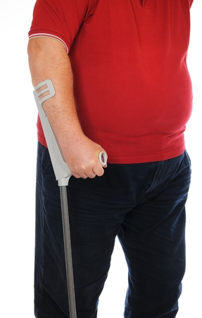 potbelly: Patient with crutches in front of a white background