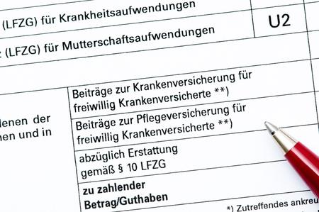 s�curit� sociale: D�claration de la contribution vers�e par la s�curit� sociale allemande Banque d'images