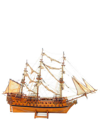 Historic sailing ship as wooden modell photo