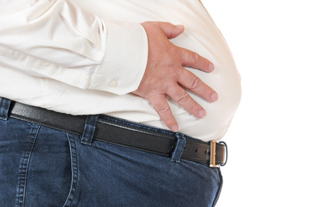 白で隔離される脂肪の男