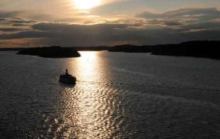 scandinavian peninsula: Sunset at the archipelago of Stockholm