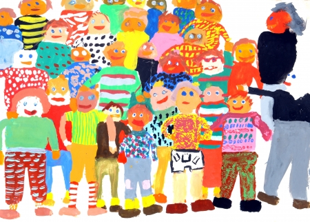 School class in a multi-colored childrens drawings