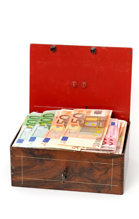 lockbox: Cash box with Euro-money in front of a white background