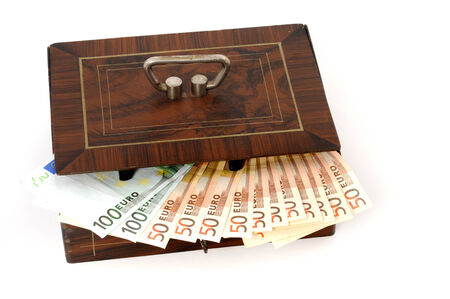 euromoney: Cash box with Euro-money in front of a white background