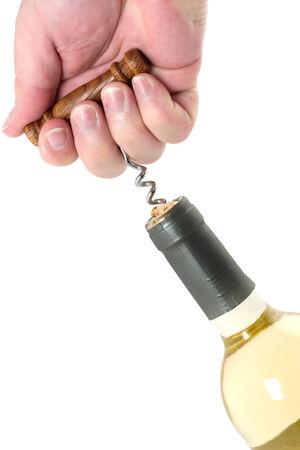 white wine bottle: Botella de vino blanco con la apertura de la botella