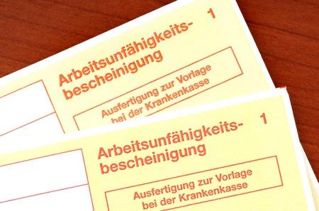 incapacity: German certificate of incapacity for work