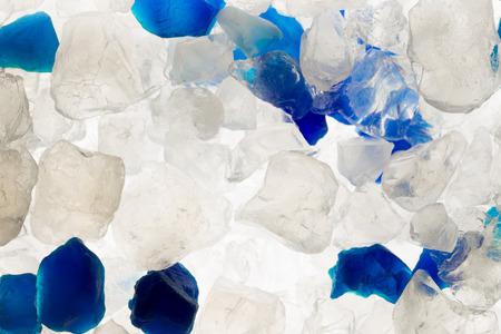 silica: White and blue silica gel crystals