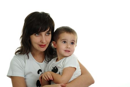 Mother and son in white T-shirts isolated on white background Stock Photo - 5945437
