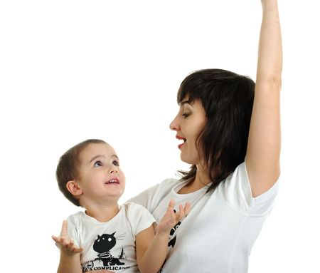 Mother and son laughing in white T-shirts isolated on white background Stock Photo - 5945438