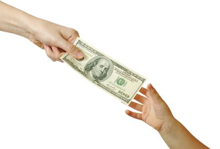 lend: Mom gives hundred dollars to her son, isolated on white