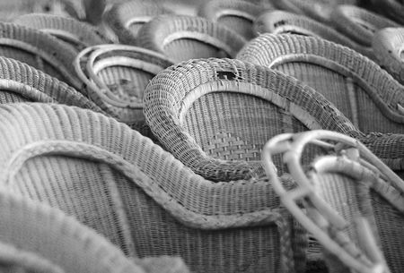 greyscale: Old cane chairs in greyscale