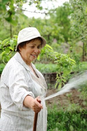 Happy senior woman hoses the garden in spring photo