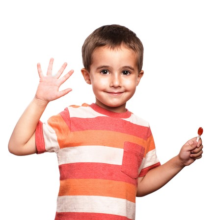 farewell: Little boy shows open palm, isolated on white Stock Photo