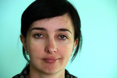 sceptic: Face of sceptic caucasian brunette woman