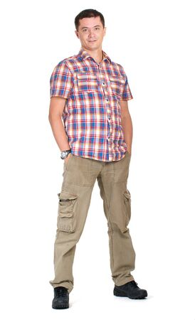 Man hands in pockets cargo pants isolated on white photo