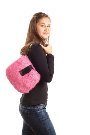 vetical: Ni�a con bolso Rosa aislado en blanco