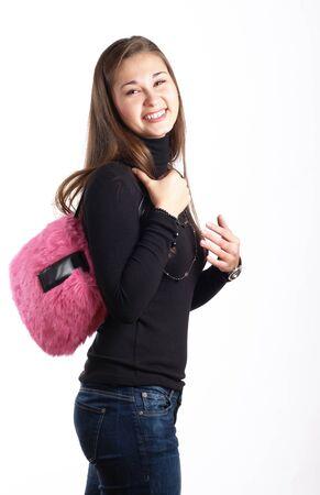 vetical: Muchacha riendo con giro de bolso Rosa