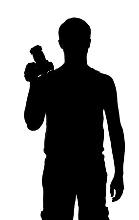 Photographer silhouette with camera in hand isolated on white photo