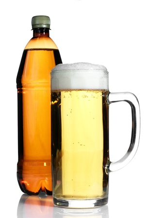 Beer in plastic bottle and glass isolated on white photo