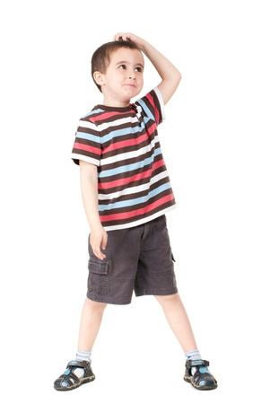 litle: Surprised litle boy isolated on white