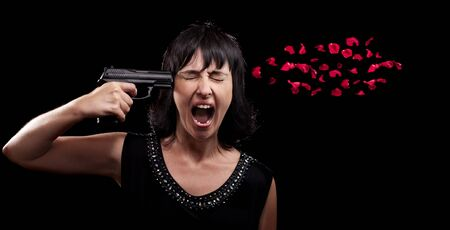 roses and blood: Screaming woman suicide gun shot over black