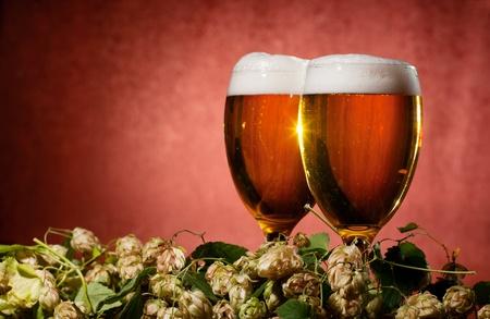 Deux verres de bière avec hop sur fond rouge Banque d'images - 10690560