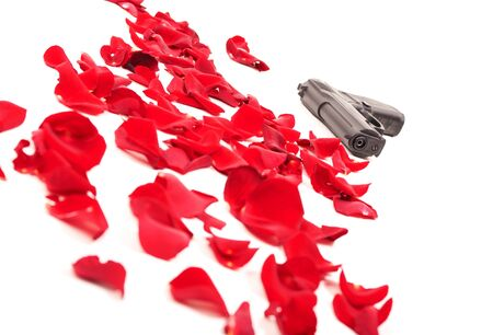 Gun between the rose petals isolated on white Фото со стока