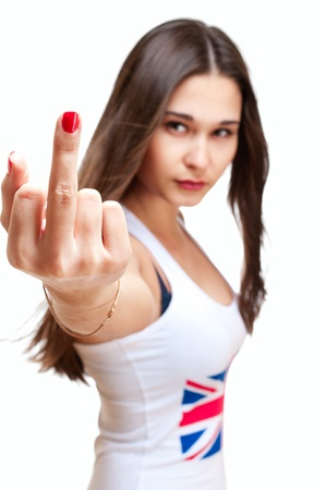 Young asian girl in tank top with british flag showing middle finger isolated on white photo