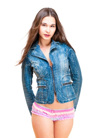 Beautiful asian woman in jeans jacket and colorful pantie isolated on white photo