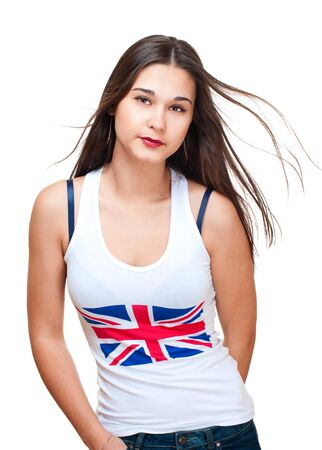 Potrait of asian girl wih britain flag on tank top isolated on white photo