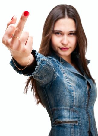 Drapeau veste Jeune fille asiatique en jeans montrant doigt du milieu isolé sur blanc Banque d'images - 11865625
