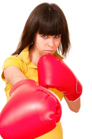puncher: Sexy puncher young woman in boxing gloves isolated on white