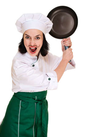 Angry woman chief threaten by pan isoalted on white Stock Photo - 12285031
