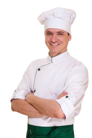 chef uniform: Smiling chef man in uniform isolated on white