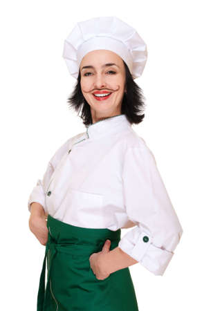 Happy woman in chef Stock Photo - 12285046