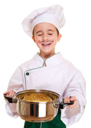 Laughing cookee boy in hood with macaroni pot in hands isolated on white Stock Photo - 12285047