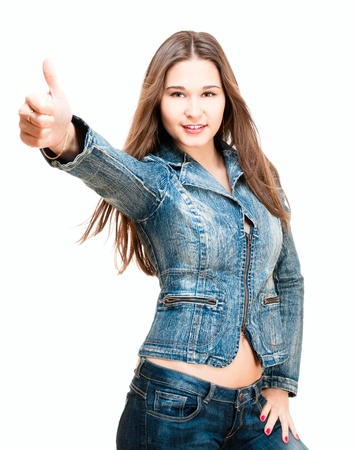 denim jacket: Young woman shows thumb up gesture isolated on white