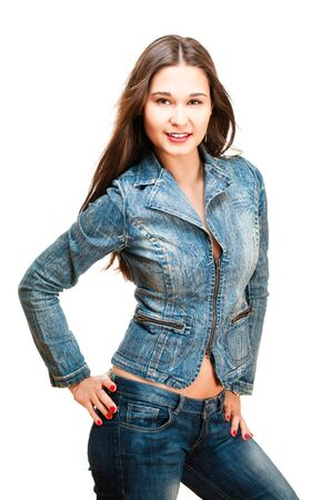Sexy woman in jeans jacket isolated on white photo